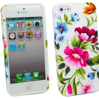 Apple iPhone 5 5G TPU Gel Case/Cover/Skin Vintage Flowers + LCD Screen Protector By Kit Me Out USA