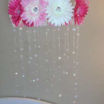 pink baby mobile, baby girl mobile, pink mobile, baby mobile, pink flower mobile, princess mobile, crystal baby mobile