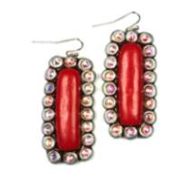 Earn Your Stripes Solid (silver/red) Earrings-Sookie Sookie