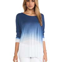 Saint Grace Omega Modal Rib Oversized Top in Blue