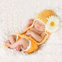 Topicker Cute Baby Infant Sunflower Costume Crochet Knit
