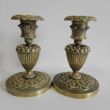 Pair of old french brass candlesticks finely carved, art deco style.