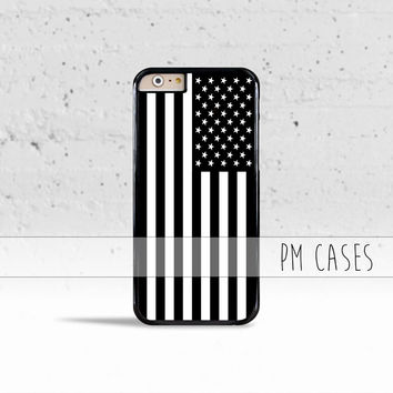 Black & White American Flag Case Cover for Apple iPhone 4 4s 5 5s 5c 6 6s SE Plus & iPod Touch