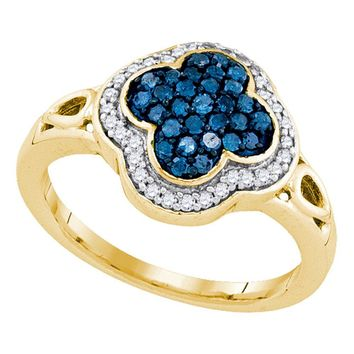 10kt Yellow Gold Womens Round Blue Color Enhanced Diamond Quatrefoil Frame Cluster Ring 1/2 Cttw