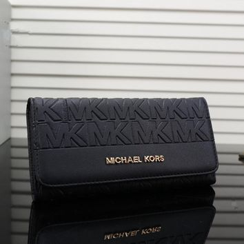 """Michael Kors"" Women Simple Fashion Embossed Letter MK Purse Long Section Button Three Fold Wallet Handbag"