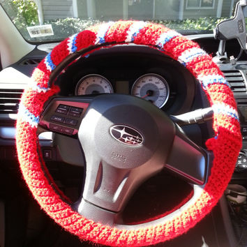 Crochet Steering Wheel Cover, Steering Wheel Cozy, Car Accessory, NY Giants colors