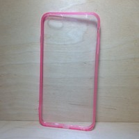 For Apple iPhone 6 Plus (5.5 inches) Light Pink Silicone Bumper and Clear Hard Acrylic Case