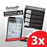 iSmooth iPhone 4/iPhone 4S Screen Protector - (3 Pack) - Highest Rated Premium Quality