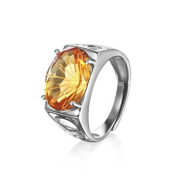 Fireworks Citrine Men's Ring Piezoelectricity Technology 925 Sterling Silver Jewelry Yellow 10*14mm Gemstone Haleigha Open Rings
