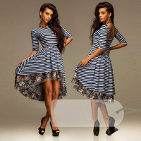 Striped Floral Half Sleeve A-line Pleated Midi Dress