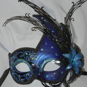 Blue and Black Luna Mask with Metal Flower Detailing