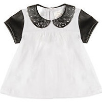 Kardashian Kids Girls White/Black Short Sleeve Peter Pan Collar Top