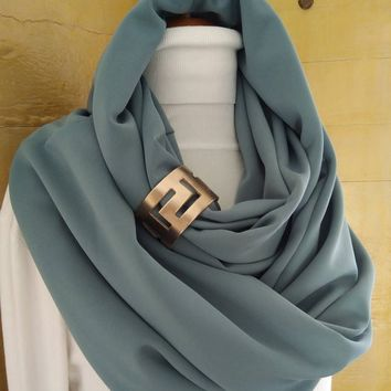 Fashion infinity scarf with leather cuff, infinity scarves, Brown leather cuff, Scarves , Scarf, Womens scarve, accessories