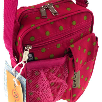 Travel Gadget Bag Pink Green Polka Dots Shoulder Strap Crossbody RFID Blocking