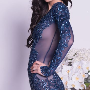 GILBERT LACE DRESS IN NAVY - 12 COLORS