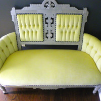 Yellow Victorian Eastlake Tufted Walnut Settee Sofa
