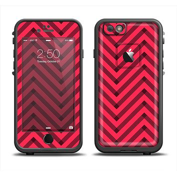 The Red & Black Sketch Chevron Apple iPhone 6/6s Plus LifeProof Fre Case Skin Set