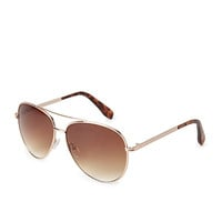 FOREVER 21 Tortoise Aviator Sunglasses Gold/Brown One