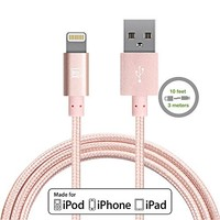 iPhone 6S Charger, Rose Gold Cable, 6.6 Feet Long F-color Braided Lightning Cable Cord to USB Cord Apple Certified for iPhone 6S 6 Plus 5 5S 5C SE 2016 iPad Air 2 Mini 4 iPad Pro Rose Gold / Rose Pink