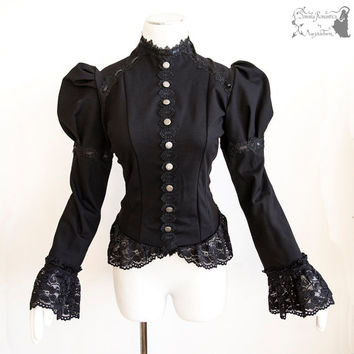 Shirt Victorian, Steampunk, romantic goth, black, Devota, Somnia Romantica, approx size medium, see item details for measurements
