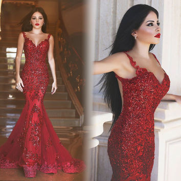 New Sexy Mermaid Long Evening Dress V-Neck Cap Sleeve Floor Length Appliques Chiffon Prom Dresses 2016 Robe de soiree