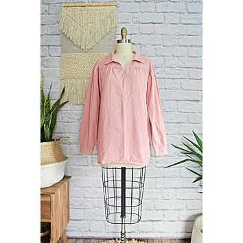 Modern Dusty Rose + Cotton Popover Top