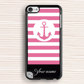 pink color ipod case,pink anchor ipod 5 case,color design ipod 4 case,pink line ipod 5 touch case,line design ipod touch 4 case,signable touch 4 case,nameable touch 5 case