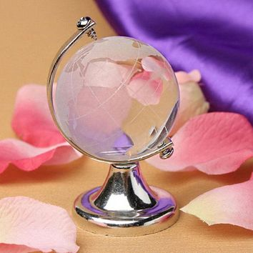 Glass Sphere Ball Gold Silver Office Beautiful Round Earth Globe Christmas Gift Desktop Cute Table Ornaments Clear