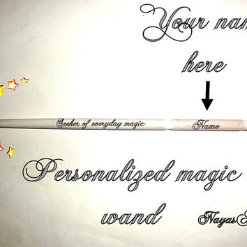 White Magic Wand Harry Potter, Harry Styles, Harry Potter Gift, Harry Potter Invitation, Personalized Wand, Hermione Granger, Print Wood Art