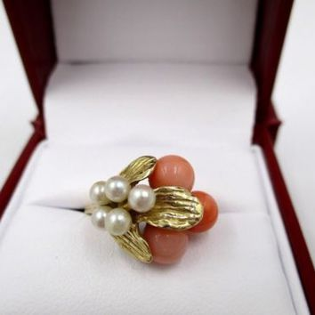 Vintage 14k Yellow Gold Angel Skin Coral Akoya Pearl Ring