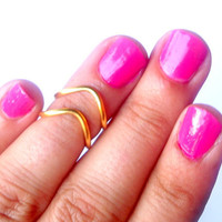 2 Chevron Above The Knuckle Ring - Gold Chevron Knuckle Rings - Set of 3 by Tiny Box