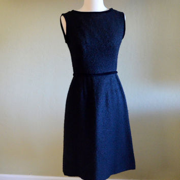 Vintage Lanz Classic Black Dress, New With Tags, Sleeveless Sheath Dress, Black Boucle Fabric, Vintage Size 9, 1960s