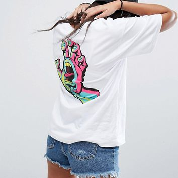 Santa Cruz Boyfriend T-Shirt With Screaming Hand Back Print at asos.com