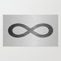 Infinity Symbol On Brushed Metal Texture Area & Throw Rug by Inspired By Fashion