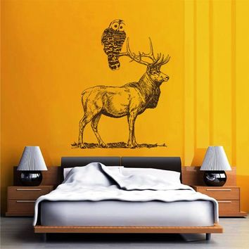 ik2430 Wall Decal Sticker animal owl deer pencil drawing bedroom living room