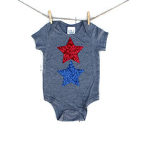 Red White and Blue Sequin Star Tee or Onesuit - 4th of July Kids