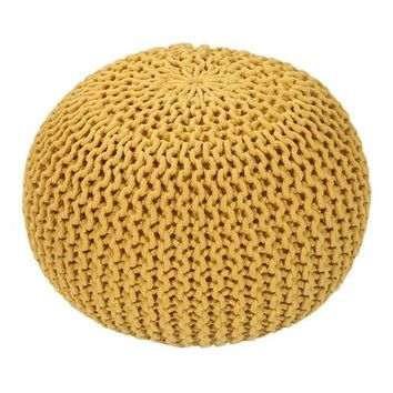 Handmade Round Knitted Pouf | Vibrant Yellow |