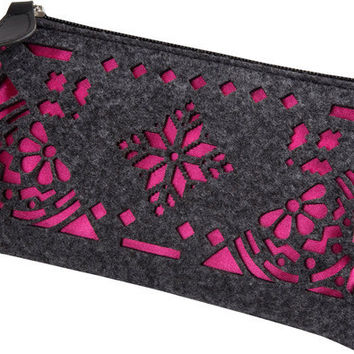 """Charcoal and Fuchsia - 8"""" x 0.5"""" x 4.5"""" Pouch/Bag"""