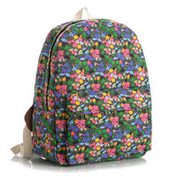 Lovely Cute Animal Striped Floral Korean Stripes Canvas Backpack = 4888032260