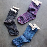 marled crew socks with lace (6 colors)