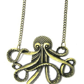 Octopus Necklace Nautical Ocean Sea Monster Fish NF21 Vintage Gold Tone Charm Pendant Fashion Jewelry