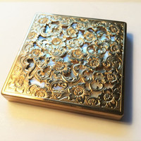 Vintage Brass Makeup Compact, Gold Coty Powder & Mirror Square Compact, Gold Flower Coty Golden Square Ridged Compact, Makeup and Mirror