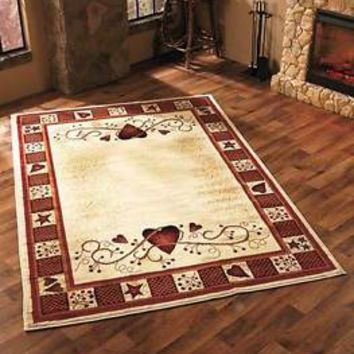 Hearts Berries Area Rug 63 X 90 Primitive Country Living