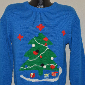 90s Christmas Tree Ugly Sweater Small