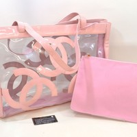 Authentic Chanel CC Logo Patent Leather Tote Shoulder Beach Bag Pink Clear Women