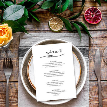 Menu template, Elegant dinner party menu template, Bridal shower menu template, Wedding brunch menu template, Wedding menu card template PDF