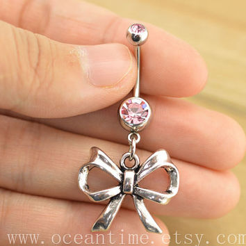 bellyring,belly button jewelry,bow belly button rings,little bow navel ring,piercing belly ring,friendship piercing bellyring,BFF gift