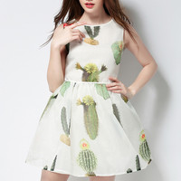 White Cactus Print Sleeveless High Waist A-Line Mini Dress