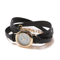 La Mer Saturn Leather Wrap Watch - Womens Jewelry - Black - One