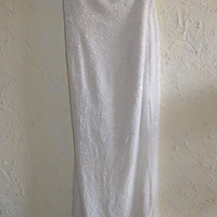 SCALA Ladies Full Length Formal Party Prom Wedding Strapless Silk White Beaded Dress Size Large
